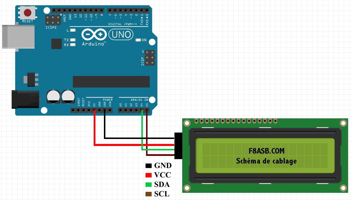 Mise en oeuvre i c vers lcd carte chinoise sur arduino